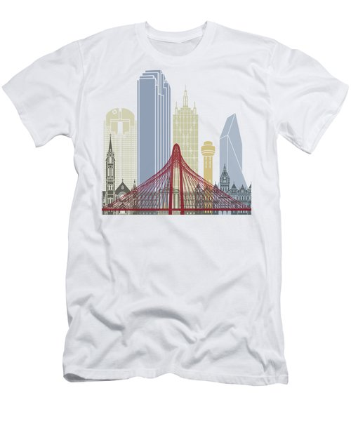 Dallas Skyline Poster Men's T-Shirt (Slim Fit) by Pablo Romero