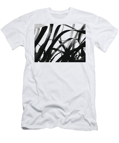 Men's T-Shirt (Slim Fit) featuring the photograph Dancing Bamboo Black And White by Rebecca Harman