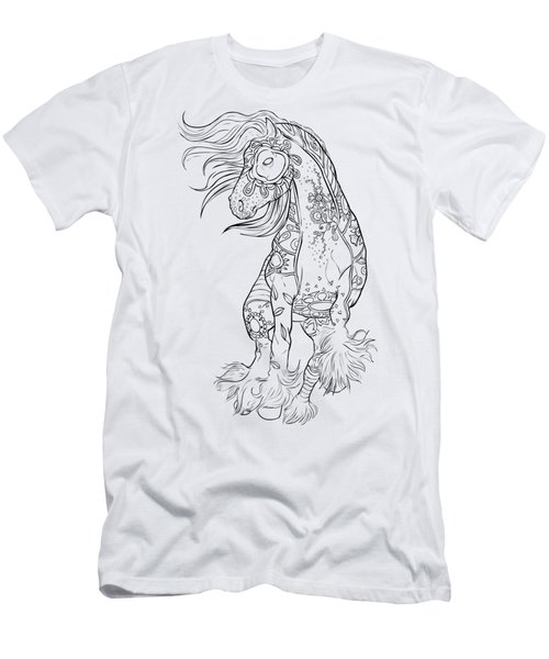 Dancing Gypsy Horse Zentangle Men's T-Shirt (Athletic Fit)