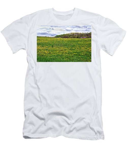 Dandelion Field With Barn Men's T-Shirt (Athletic Fit)