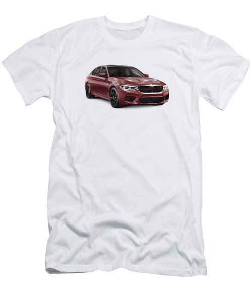 Dark Red 2018 Bmw M5 Performance Car Sport Sedan Art Photo Print Men's T-Shirt (Athletic Fit)