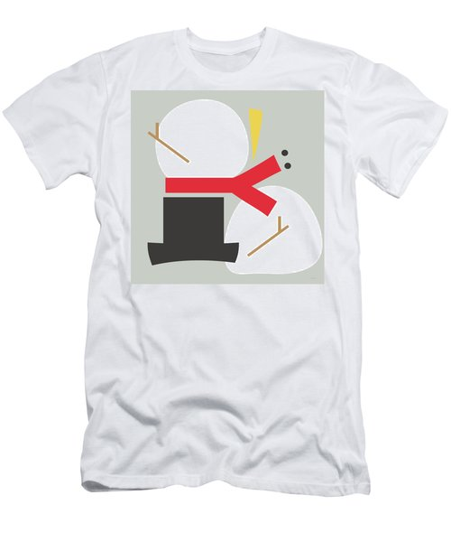 Men's T-Shirt (Athletic Fit) featuring the digital art Deconstructed Snowman- Modern Art By Linda Woods by Linda Woods