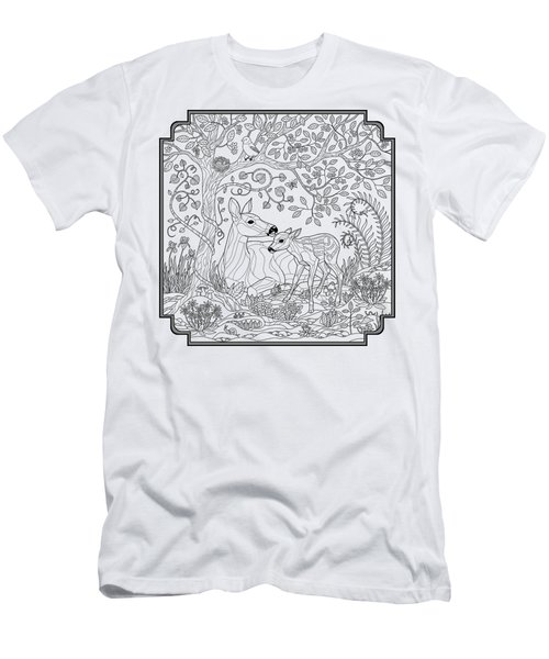 Deer Fantasy Forest Coloring Page Men's T-Shirt (Slim Fit) by Crista Forest