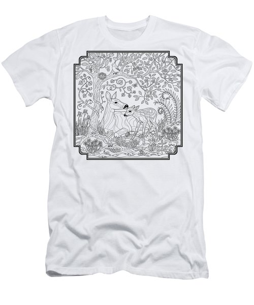Deer Fantasy Forest Coloring Page Men's T-Shirt (Athletic Fit)