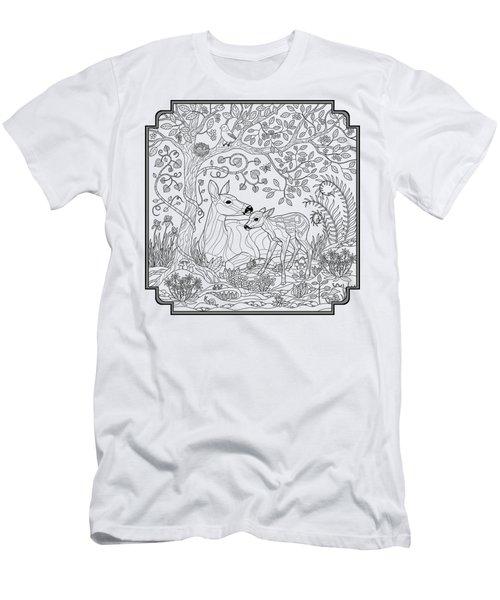 Deer Fantasy Forest Coloring Page Men's T-Shirt (Slim Fit)