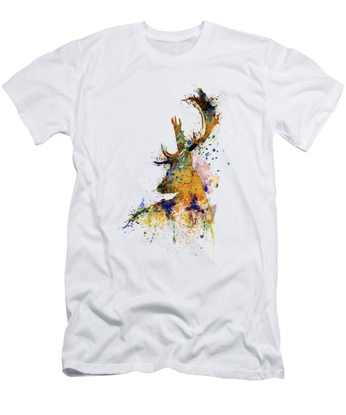 Deer Head Watercolor Silhouette Men's T-Shirt (Athletic Fit)