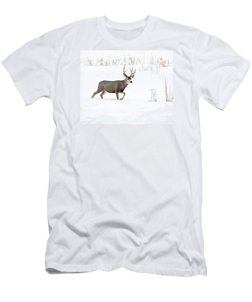 Men's T-Shirt (Slim Fit) featuring the photograph Deer In The Snow by Rebecca Margraf