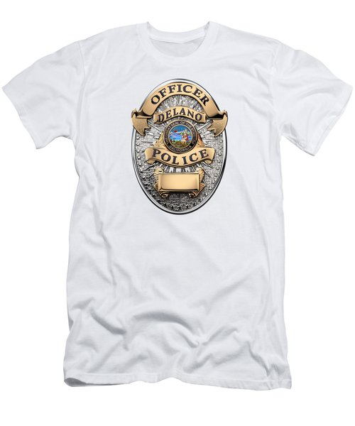 Men's T-Shirt (Slim Fit) featuring the digital art Delano Police Department - Officer Badge Over White Leather by Serge Averbukh