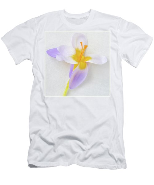 Men's T-Shirt (Slim Fit) featuring the photograph Delicate Art Of Crocus by Terence Davis