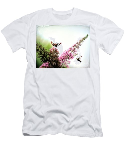 Men's T-Shirt (Athletic Fit) featuring the photograph Delight And Joy - Hummingbird Moths In Flight by Kerri Farley