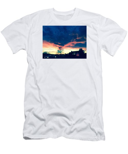 Men's T-Shirt (Slim Fit) featuring the painting Dense Sunset by Angela Annas