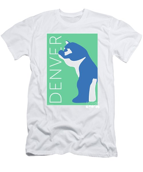 Men's T-Shirt (Athletic Fit) featuring the digital art Denver Blue Bear/aqua by Sam Brennan