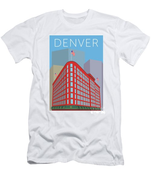 Men's T-Shirt (Athletic Fit) featuring the digital art Denver Brown Palace/blue by Sam Brennan