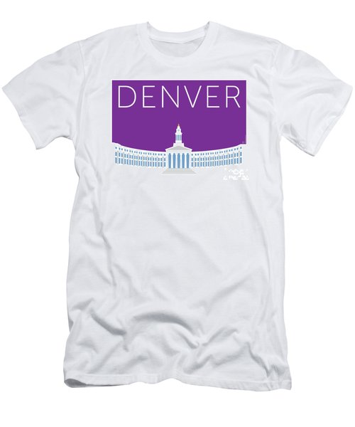 Men's T-Shirt (Athletic Fit) featuring the digital art Denver City And County Bldg/purple by Sam Brennan