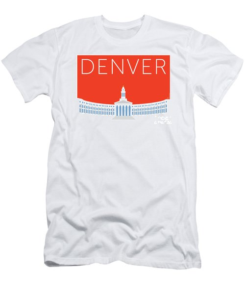 Men's T-Shirt (Athletic Fit) featuring the digital art Denver City And County Bldg/orange by Sam Brennan