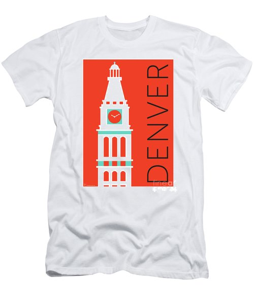 Men's T-Shirt (Athletic Fit) featuring the digital art Denver D And F Tower/orange by Sam Brennan