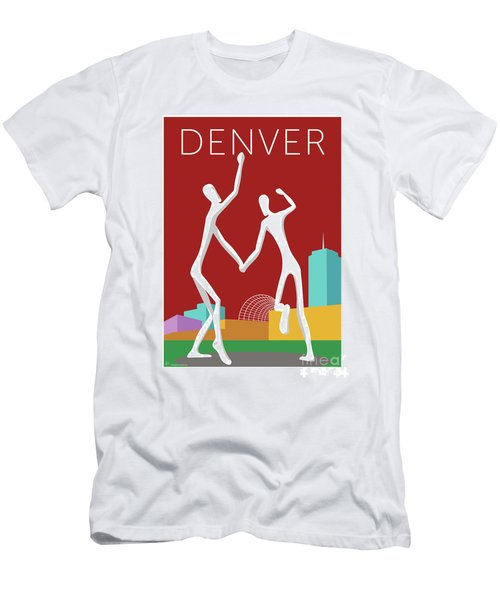 Men's T-Shirt (Athletic Fit) featuring the digital art Denver Dancers/maroon by Sam Brennan