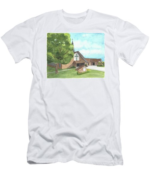 Men's T-Shirt (Athletic Fit) featuring the painting De Soto Baptist Church by Betsy Hackett