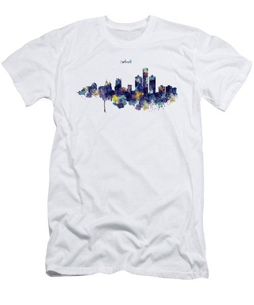Detroit Skyline Silhouette Men's T-Shirt (Slim Fit) by Marian Voicu