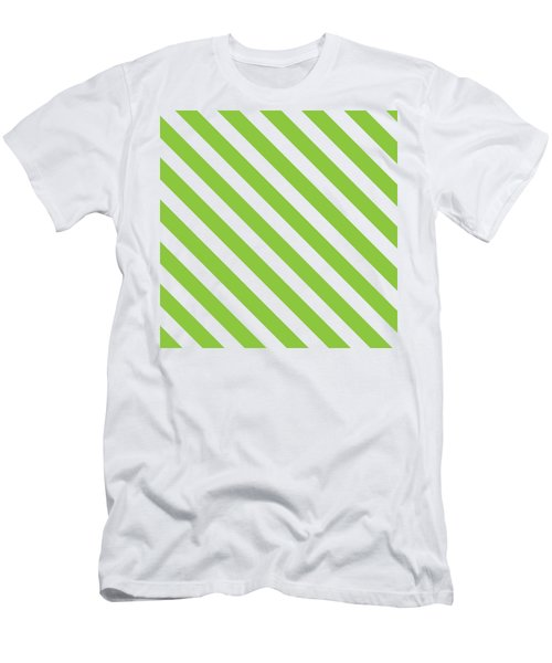 Diagonal Green Stripes Men's T-Shirt (Athletic Fit)