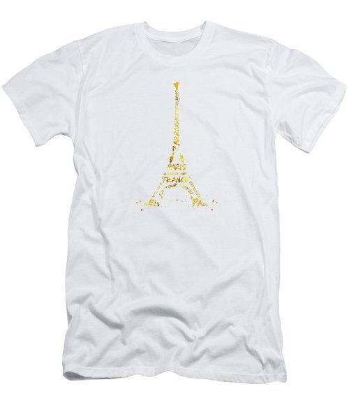 Digital-art Eiffel Tower - White And Golden Men's T-Shirt (Athletic Fit)
