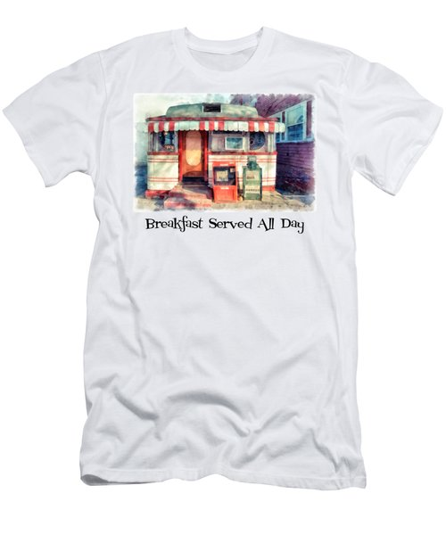 Diner Tee Breakfast Served All Day Men's T-Shirt (Athletic Fit)