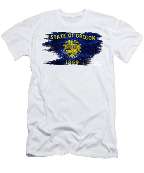 Distressed Oregon Flag Men's T-Shirt (Athletic Fit)
