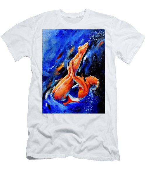 Men's T-Shirt (Athletic Fit) featuring the painting Diving Diva by Hanne Lore Koehler