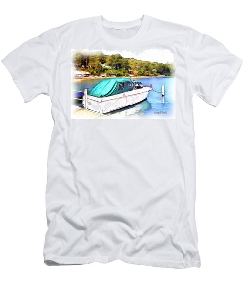 Men's T-Shirt (Athletic Fit) featuring the photograph Do-00276 Green Boat In Killcare by Digital Oil