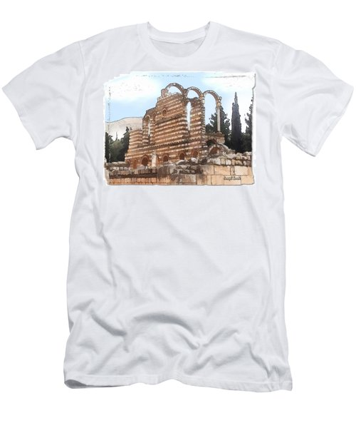 Men's T-Shirt (Slim Fit) featuring the photograph Do-00302 Ruins In Anjar by Digital Oil