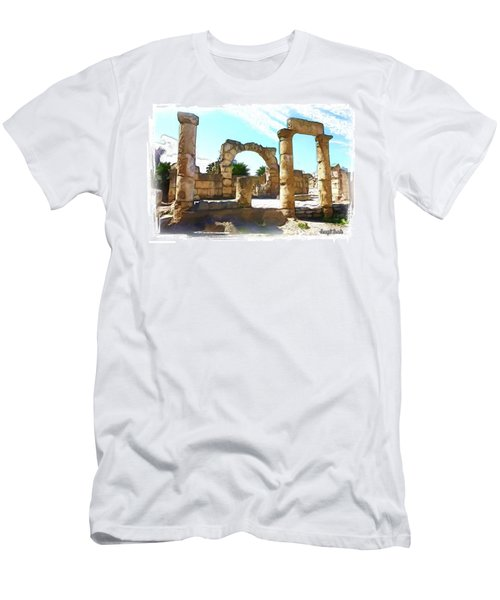 Men's T-Shirt (Athletic Fit) featuring the photograph Do-00408 Colonnades In Tyr by Digital Oil