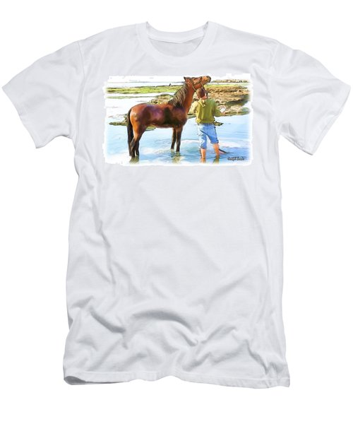 Men's T-Shirt (Slim Fit) featuring the photograph Do-00421 Washing Horse In Mina by Digital Oil