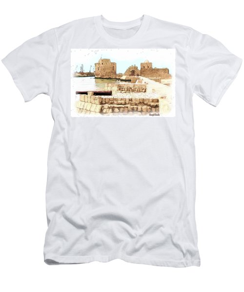 Men's T-Shirt (Slim Fit) featuring the photograph Do-00423 Citadel Of Sidon by Digital Oil