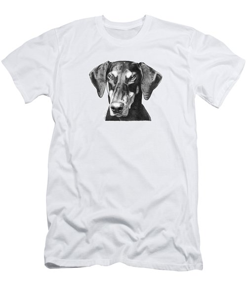 Men's T-Shirt (Slim Fit) featuring the drawing Doberman by Abbey Noelle