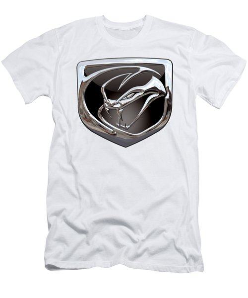 Dodge Viper 3 D  Badge Special Edition On White Men's T-Shirt (Slim Fit) by Serge Averbukh