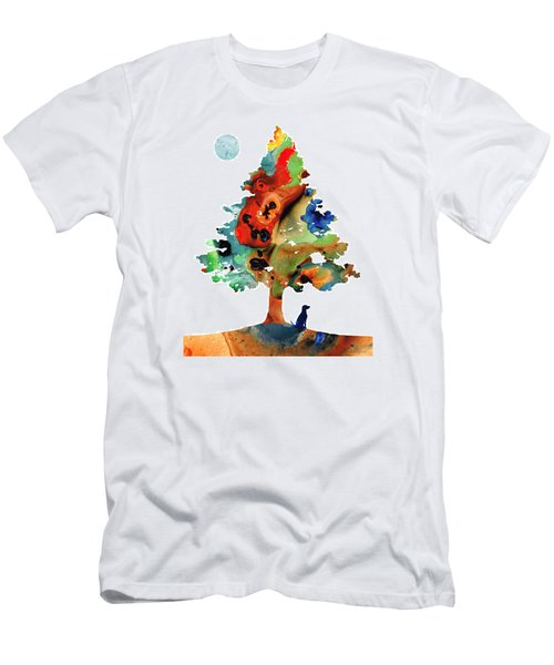 Men's T-Shirt (Athletic Fit) featuring the painting Dog Art - Contemplation 2 - By Sharon Cummings  by Sharon Cummings