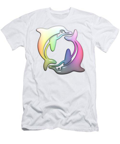 Dolphin Dance Soft Rainbow Drops Men's T-Shirt (Athletic Fit)