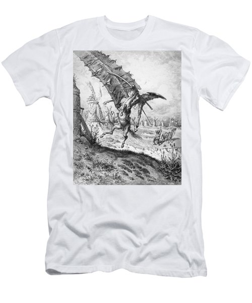 Don Quixote And The Windmills Men's T-Shirt (Athletic Fit)