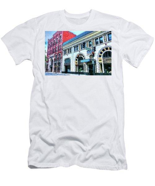 Downtown Asheville City Street Scene Painted  Men's T-Shirt (Athletic Fit)