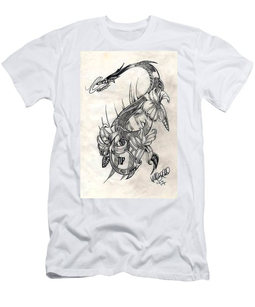 Men's T-Shirt (Athletic Fit) featuring the drawing Dragon by Michelle Dallocchio