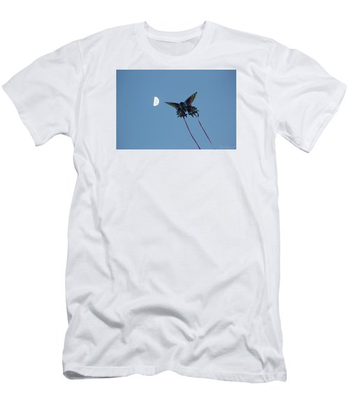 Men's T-Shirt (Slim Fit) featuring the photograph Dragonfly Chasing The Moon by Robert Banach