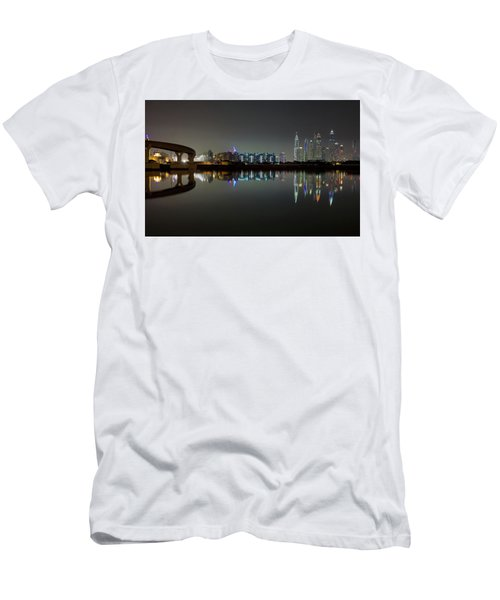 Dubai City Skyline Night Time Reflection Men's T-Shirt (Athletic Fit)