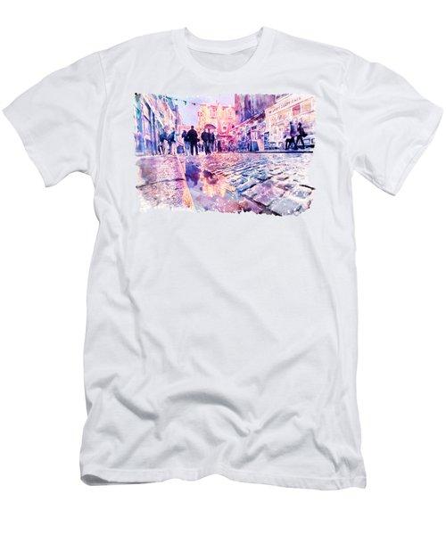 Dublin Watercolor Streetscape Men's T-Shirt (Slim Fit) by Marian Voicu