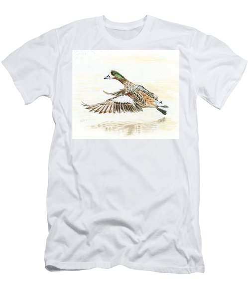 Men's T-Shirt (Slim Fit) featuring the painting Duck Taking Off. by Raffaella Lunelli