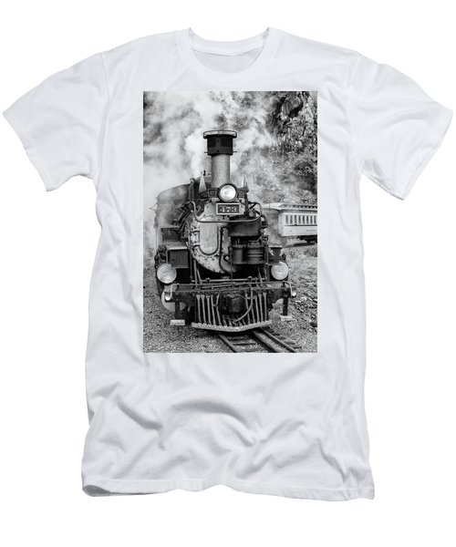 Men's T-Shirt (Athletic Fit) featuring the photograph Durango Silverton Train Engine by Angela Moyer
