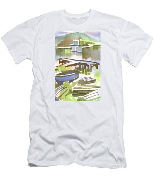 Men's T-Shirt (Slim Fit) featuring the painting Dusk At The Boat Dock by Kip DeVore