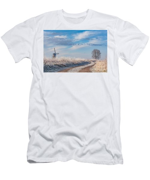 Dutch Windmill In Winter Men's T-Shirt (Athletic Fit)