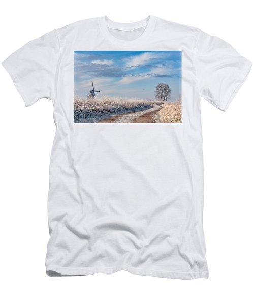 Dutch Windmill In Winter Men's T-Shirt (Slim Fit)