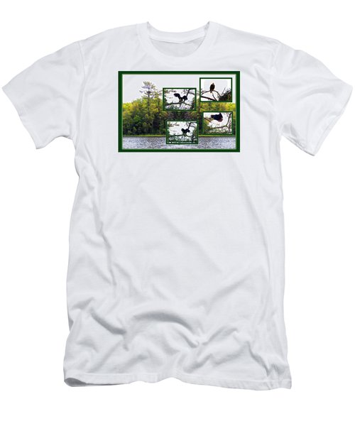 Men's T-Shirt (Slim Fit) featuring the photograph Eagle Collage by Teresa Schomig