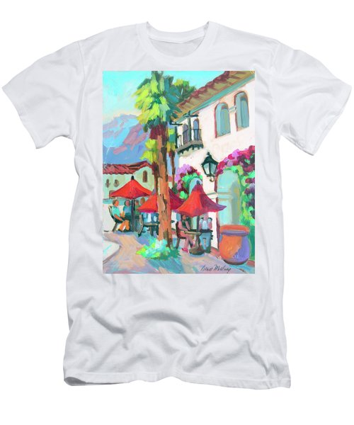 Men's T-Shirt (Slim Fit) featuring the painting Early Morning Coffee In Old Town La Quinta 2 by Diane McClary